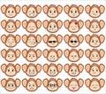 Set of funny monkey emoticons Royalty Free Stock Photo
