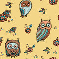 Set of funny owl with flowers sketch, doodle. Seamless pattern on a beige background.