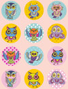 Set of funny owl sketch, doodle. Seamless pattern on a pink background.