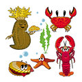 Set of funny sea animals with cucumaria and Omar