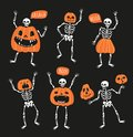 Set Of Funny Skeletons With Pu...