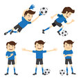 Set of funny soccer football player wearing blue t shirt running vector illustration atanding and kicking a ball and smiling Stock Image