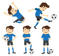 Set of funny soccer football player wearing blue t shirt running vector illustration atanding and kicking a ball and smiling Royalty Free Stock Photos