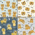 Set of funny tigers and lion seamlesss pattern, childish illustration for fabric,kids nursery