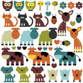 Set of funny various animals colorful Stock Photography
