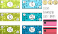 Set of funny vector banknotes, coins and credit cards for game. Isolated on white background. Money for playing shop, market, mark