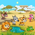 Set Of Funny Wild Animals In T...