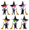 Set of funny witches. Royalty Free Stock Photography