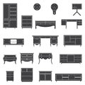 Set of furniture icons in flat design.