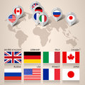 Set of G8 flags with map Stock Image
