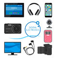 Set of gadgets and consumer electronic devices. Vector illustration in flat style. Design items, icons, phone, computer Royalty Free Stock Photo