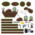 Set of game elements platforms and objects vector isolated items Stock Photography