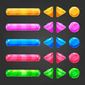 Set of game interface button color Royalty Free Stock Photo