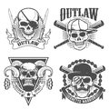 Set of gangster emblems. Skull with two crossed knives