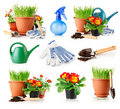 Set garden grass and flowers in the pots Royalty Free Stock Photo