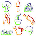 Set of garden icons objects design elements Stock Photos