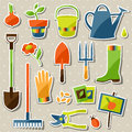 Set of garden sticker design elements and icons Royalty Free Stock Photo