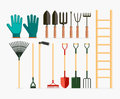 Set of garden tools and gardening items. Royalty Free Stock Photo