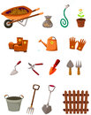 Set of garden tools on white illustration isolated Royalty Free Stock Images