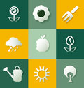 Set of gardening flat icons Stock Photography