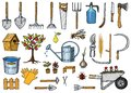 Set of gardening tools or items. hose reel, fork, spade, rake, hoe, trug, cart, lawnmower, elements collection. work Royalty Free Stock Photo