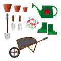 Set of gardening tools such as pots a shovel and various equipment Royalty Free Stock Images