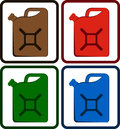 Set gasoline jerry can colorful isolated Stock Photo