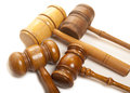Set gavel old wooden judges on white Royalty Free Stock Images