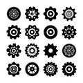 Set of gear wheels icons vector illustration isolated Stock Photos