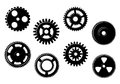 Set of gears and pinions isolated on white background Royalty Free Stock Photography