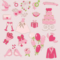 Set gentle wedding icons Stock Images