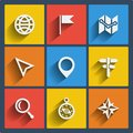 Set of 9 geo web and mobile icons. Vector.