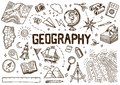 Set of geography symbols. Equipments for web banners. Vintage outline sketch for web banners. Doodle style. Education