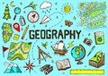 Set of geography symbols. Equipments for web banners. Vintage outline sketch for web banners. Doodle style. Education Royalty Free Stock Photo