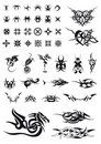 Set of geometric decorations and tribals tattoos