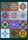 Set of geometric flowers twelve colorful Stock Photo