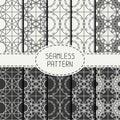 Set of geometric line lattice seamless arabic Royalty Free Stock Photo