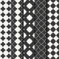 Set of geometric line monochrome lattice seamless arabic pattern. Islamic oriental style. Wrapping paper. Scrapbook Royalty Free Stock Photo