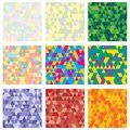 Set of 9 geometric pattern. Mosaic. Texture with triangles, rhombus. Abstract background an be used for wallpaper