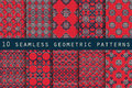 Set of 10 geometric seamless pattern. The pattern for wallpaper, tiles, fabrics and designs. Royalty Free Stock Photo