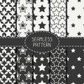 Set of geometric seamless pattern with stars Royalty Free Stock Photo