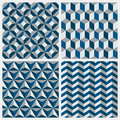 Set of geometric seamless patterns. Vector illustration.