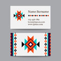 Set of geometric tribal colorful business cards - ethnic style templates Royalty Free Stock Photo
