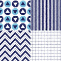 Set of geometrical brush drawn vector seamless patterns collection in sea colors stripes circles and triangles zigzags checked Stock Photography
