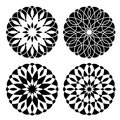 Set of geometrical floral ornaments four simple Royalty Free Stock Photo