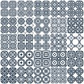Set of geometrical seamless patterns vector monochrome white dark blue grille texture in arabic oriental style a background Stock Images