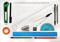 Set of geometry drawing tools isolated on white Royalty Free Stock Photo