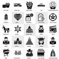 Set of  George washington, Chrysler building, Slot machine, Golden gate, Sheriff, Pyramid, Cinema, French fries, Spaceship, School Royalty Free Stock Photo
