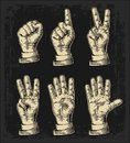 Set of gestures of hands counting from zero to five. Male Hand sign. Vector vintage engraved illustration isolated