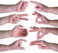 Set of gestures hands over white background on a Royalty Free Stock Images